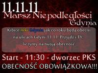 Kibice Arki na Marszu Niepodległości w Gdyni